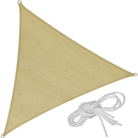 Toldo de polietileno con forma de vela, variante 1 - toldo triangular con cuerdas tensoras, toldo para sombra en jardín con anillas de acero, vela para terraza lavable transpirable