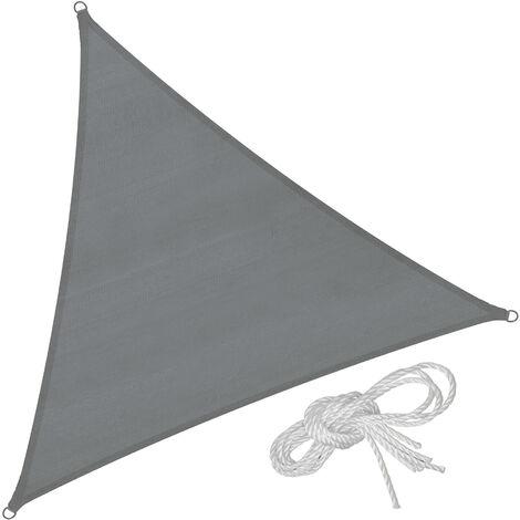 Toldo de polietileno con forma de vela, variante 2 - toldo triangular con cuerdas tensoras, toldo para sombra en jardín con anillas de acero, vela para terraza lavable transpirable