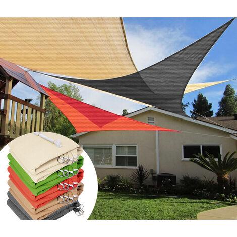 VKTY Toldo cuadrado de 2 x 2 m para patios permeable al agua malla de malla 90/% de protecci/ón solar de HDPE terrazas con cuerda terrazas