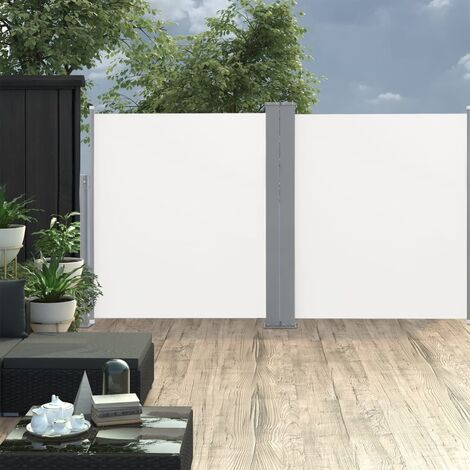 Toldo lateral doble retráctil de jardín color crema 170x600 cm