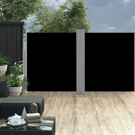 Toldo lateral doble y retractil de jardin negro 170x600 cm