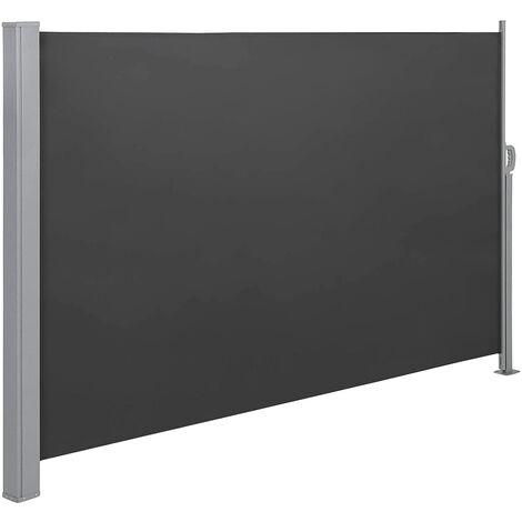 Toldo Lateral para Balcón y Terraza, 160 x 300 cm (Altura x Longitud), Protección de la Intimidad, Protección Solar, Persiana Lateral, Gris Ahumado/Topo