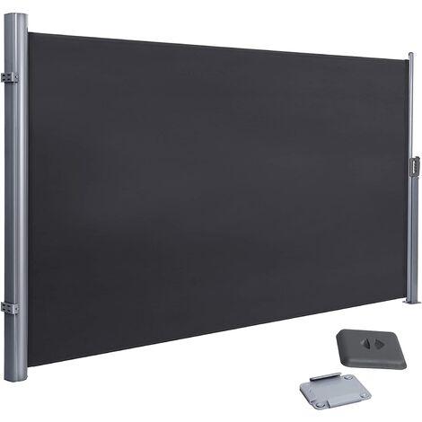 Toldo Lateral para Balcón y Terraza, 180 x 400 cm (Altura x Longitud), Protección de la Intimidad, Protección Solar, Persiana Lateral, Gris, GSA184G - Grey