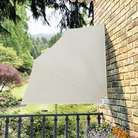 Toldo lateral plegable de balcón color crema 140x140 cm - Crema