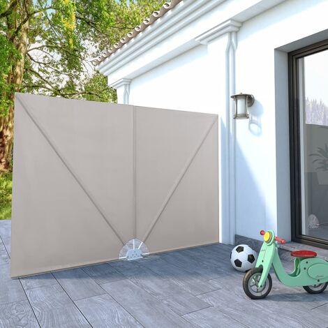Toldo lateral plegable terraza color crema 240x160 cm