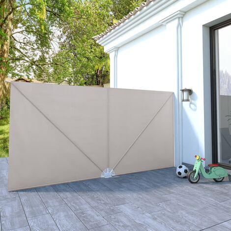 Toldo lateral plegable terraza color crema 400x200 cm