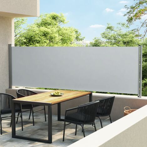 Toldo lateral retráctil para patio gris 140x600 cm - Gris