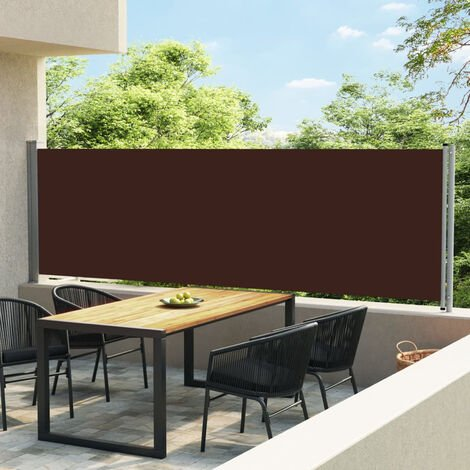 Toldo lateral retractil para patio marron 140x600 cm