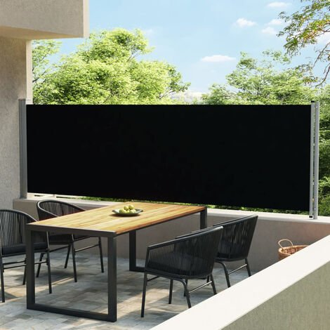 Toldo lateral retractil para patio negro 140x600 cm