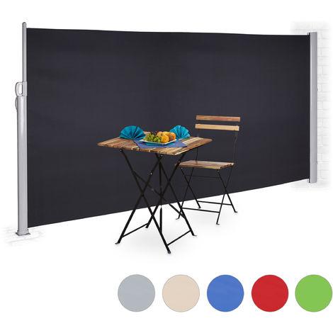 Toldo lateral retráctil, Protección UV, Pantalla de privacidad, Enrollable, 180x300 cm, Antracita