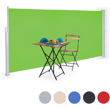 Toldo lateral retráctil, Protección UV, Pantalla de privacidad, Enrollable, 180x300 cm, Verde