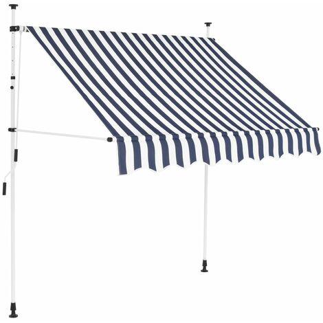 Toldo manual retráctil 150 cm azul y blanco a rayas