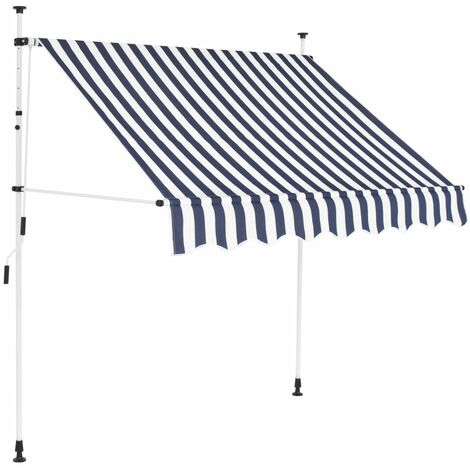 Toldo manual retráctil 200 cm azul y blanco a rayas