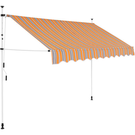 Toldo manual retráctil 250 cm amarillo y azul a rayas