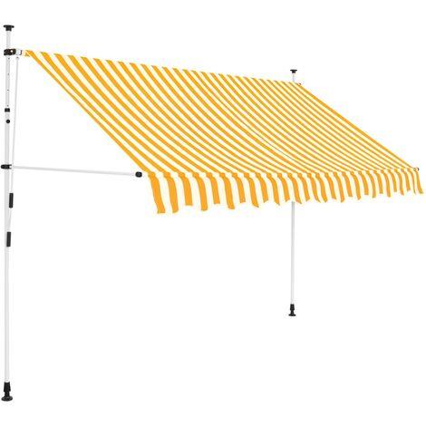 Toldo manual retráctil 250 cm amarillo y blanco a rayas