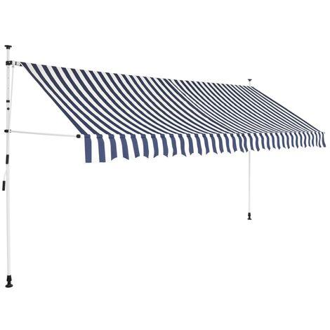 Toldo manual retráctil 400 cm azul y blanco a rayas