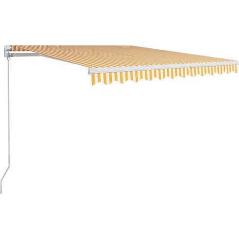 Toldo manual retráctil amarillo y blanco 300x250 cm