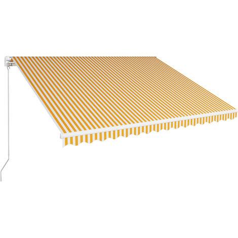 Toldo manual retráctil amarillo y blanco 400x300 cm