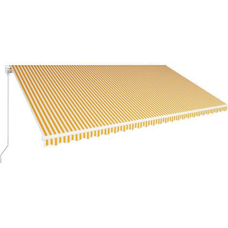 Toldo manual retráctil amarillo y blanco 600x300 cm
