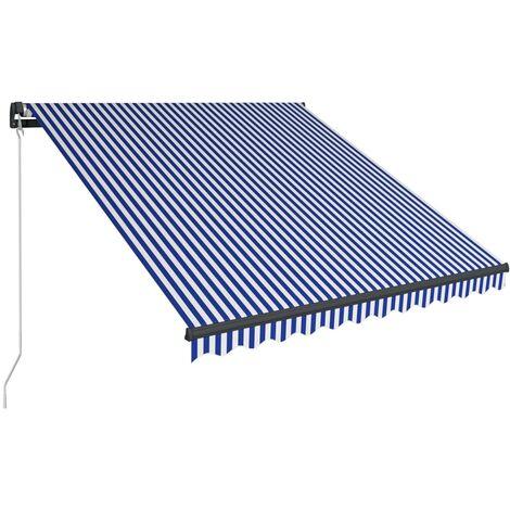 Toldo manual retráctil azul y blanco 300x250 cm
