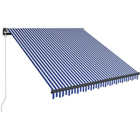 Toldo manual retráctil azul y blanco 350x250 cm