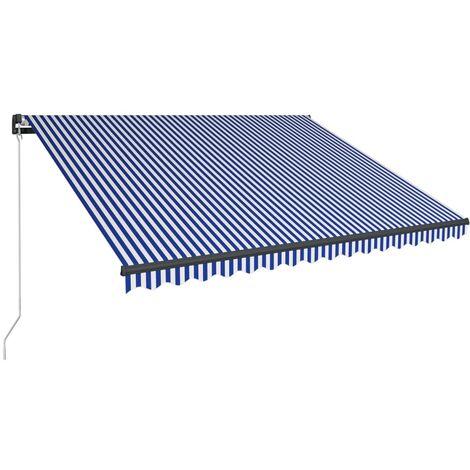 Toldo manual retráctil azul y blanco 400x300 cm