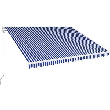 Toldo manual retráctil azul y blanco 450x300 cm