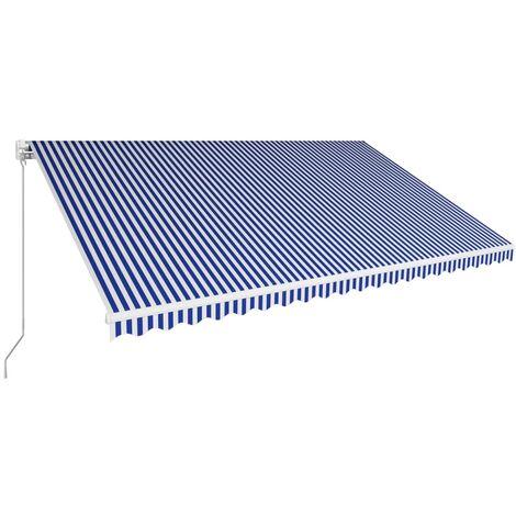 Toldo manual retráctil azul y blanco 500x300 cm