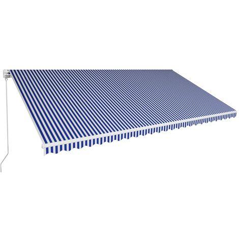 Toldo manual retráctil azul y blanco 600x300 cm