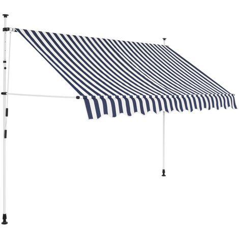 Toldo manual retráctil azul y blanco a rayas 250 cm
