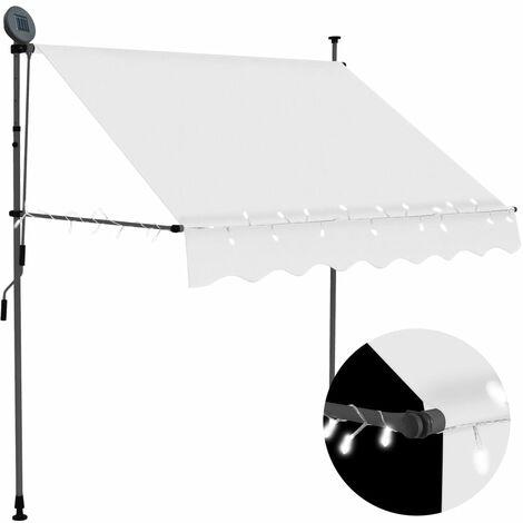 Toldo manual retráctil con LED color crema 200 cm