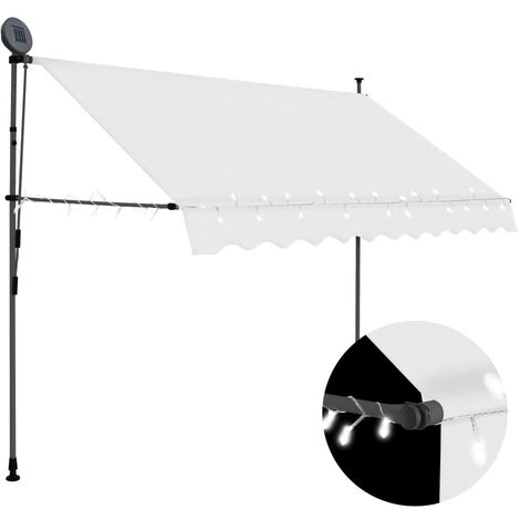 Toldo manual retráctil con LED color crema 250 cm