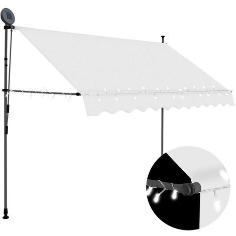Toldo manual retráctil con LED color crema 300 cm
