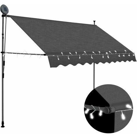Toldo manual retráctil con LED gris antracita 250 cm