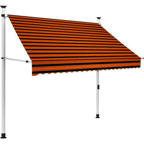 Toldo manual retráctil naranja y marrón 200 cm