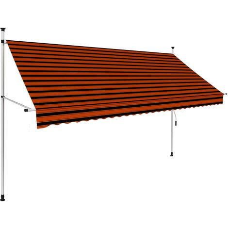 Toldo manual retráctil naranja y marrón 300 cm