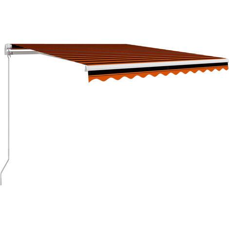 Toldo manual retráctil naranja y marrón 300x250 cm