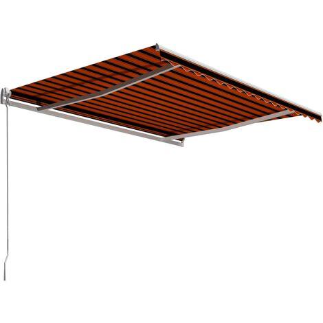 Toldo manual retráctil naranja y marrón 400x300 cm