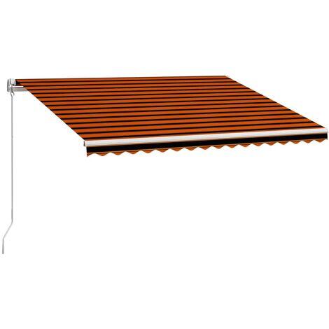 Toldo manual retráctil naranja y marrón 450x300 cm