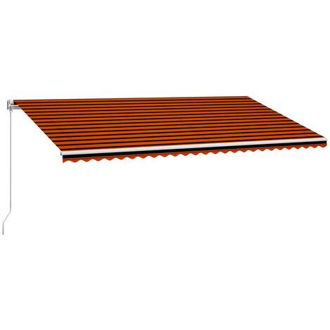 Toldo manual retráctil naranja y marrón 600x300 cm