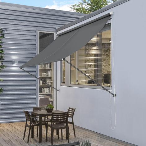 Toldo montando en la pared - Gris - 350 x 120 cm - Terraza Balcón Toldo extensible - Persiana de la ventana Exterior