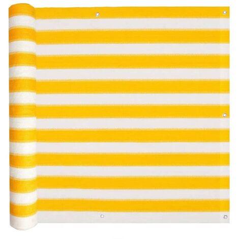Toldo para balcón HDPE amarillo y blanco 90x600 cm