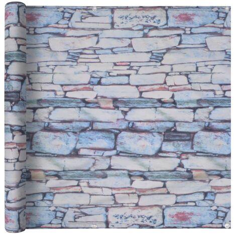 Toldo para balcón tela oxford 90x600 cm estampado pared piedras