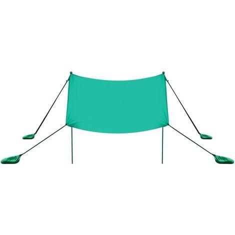 Toldo para Playa de Lycra Sombra Protección Solar con 4 Sacos de Arena y 2 Postes de Aluminio para Playa Camping Pesca