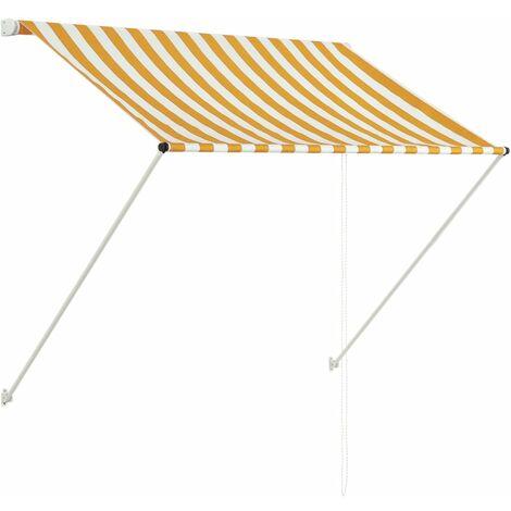 Toldo retractil 150x150 cm amarillo y blanco(no se puede enviar a Baleares)