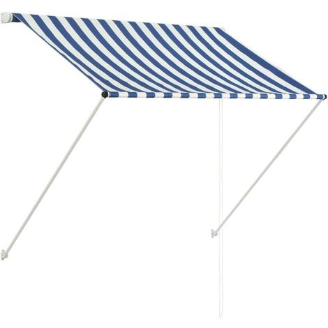 Toldo retractil 150x150 cm azul y blanco(no se puede enviar a Baleares)