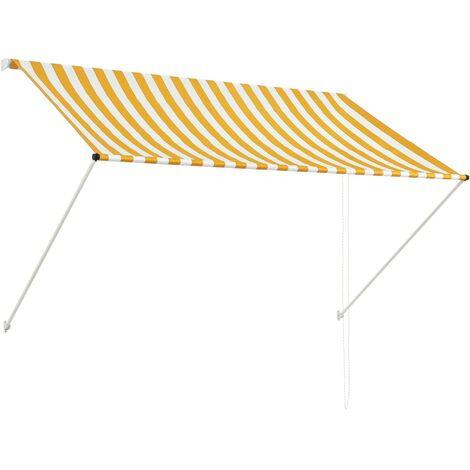 Toldo retractil 200x150 cm amarillo y blanco(no se puede enviar a Baleares)