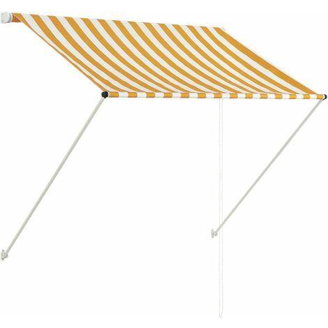 Toldo retractil amarillo y blanco 100x150 cm(no se puede enviar a Baleares)