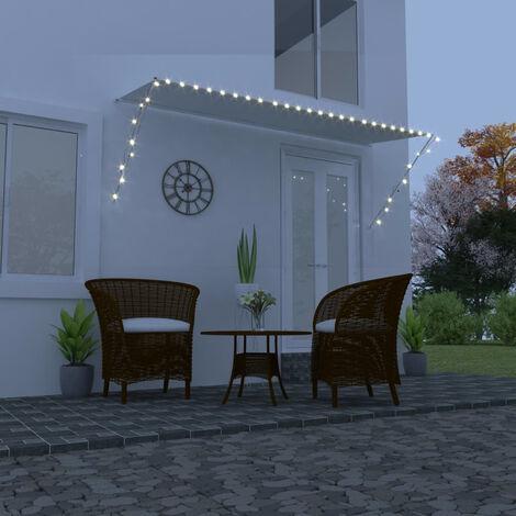 Toldo retractil con LED color crema 300x150 cm