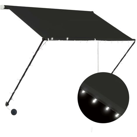 Toldo retractil con LED gris antracita 150x150 cm